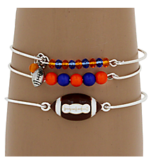 3-Piece Blue and Orange Football Bangle Set #JB4388-SOB