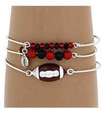 3-Piece Red and Black Football Bangle Set #JB4388-SRB