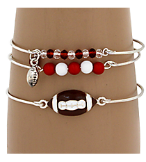 3-Piece Red and White Football Bangle Set #JB4388-SRW