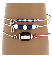 3-Piece Blue and White Football Bangle Set #JB4388-SWB