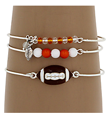 3-Piece Orange and White Football Bangle Set #JB4388-SWO