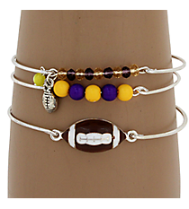 3-Piece Purple and Yellow Football Bangle Set #JB4388-SYP