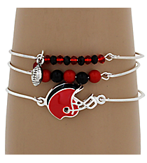 3-Piece Red and Black Football Helmet Bangle Set #JB4398-SRBK