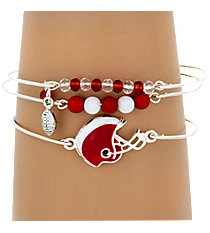 3-Piece Red and White Football Helmet Bangle Set #JB4398-SRW