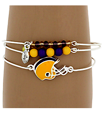 3-Piece Purple and Yellow Football Helmet Bangle Set #JB4398-SYP