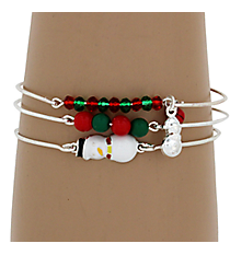 3-Piece Red and Green Snowman Silvertone Bangle Set #JB4404-SRDGR