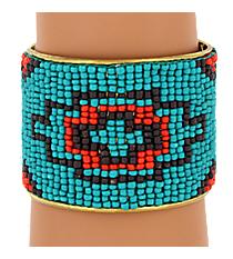 Southwestern Seed Bead Cuff Bracelet #JB4409-TEBR