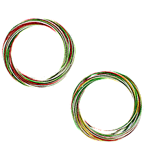 Christmas Colored Linked Metallic Multi-Bangle Set #X-BNGBR-SHIPS ASSORTED