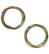 Christmas Colored Linked Metallic Multi-Bangle Set #X-BNGBR-SHIPS ASSORTED