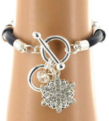 Multi-Ring Crystal Snowflake Toggle Bracelet #AB5402-SC