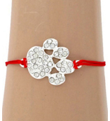 Crystal Paw Print Adjustable Red Cord Bracelet #AB5772-SR
