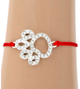 Cut Out Crystal Paw Print Adjustable Red Cord Bracelet #AB5773-SR