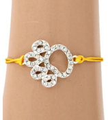 Cut Out Crystal Paw Print Adjustable Yellow Cord Bracelet #AB5773-SY