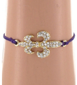Goldtone and Crystal Fleur de Lis Adjustable Dark Purple Cord Bracelet #BR112X049J