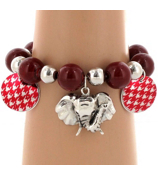 Red Houndstooth Disk and Elephant Charm Beaded Stretch Bracelet #UB56016-RED