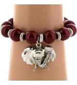 Red Beaded Elephant Charm Stretch Bracelet #UB56017-RED