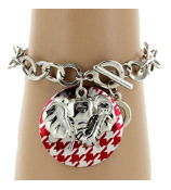 Red Houndstooth Disk and Elephant Charm Chain Toggle Bracelet #UB56018-RED