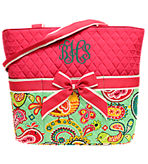 Paisley Chick Quilted Diaper Bag with Hot Pink Trim #BRQ2121-HPINK