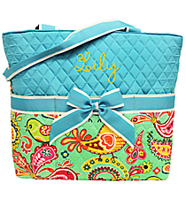 Paisley Chick Quilted Diaper Bag with Turquoise Trim #BRQ2121-TURQ