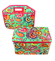 Paisley Chick and Hot Pink Utility Storage Tote with Insulated Bag #BRQ516-HPINK