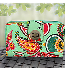 Paisley Chick Quilted Organizer Clutch Wallet #BRQ517-MINT