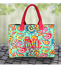 Paisley Chick Wide Tote Bag with Hot Pink Trim #BRQ581-H/PINK