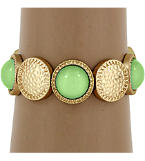 Hammered Matte Goldtone and Mint Green Bubble Bead Stretch Bracelet #YJB1159-MGMN