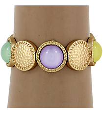 Hammered Matte Goldtone and Multi-Color Bubble Bead Stretch Bracelet #YJB1159-MGMT