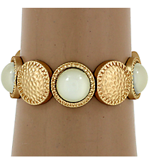 Hammered Matte Goldtone and Natural Bubble Bead Stretch Bracelet #YJB1159-MGNT