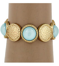 Hammered Matte Goldtone and Turquoise Bubble Bead Stretch Bracelet #YJB1159-MGTQ