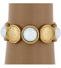 Hammered Matte Goldtone and White Bubble Bead Stretch Bracelet #YJB1159-MGWT