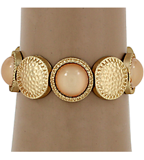 Hammered Matte Goldtone and Peach Bubble Bead Stretch Bracelet #YJB1159-MGPE