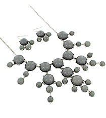 "26"" Silvertone and Grey Bubble Necklace and Earring Set #AS4560-RHGR"