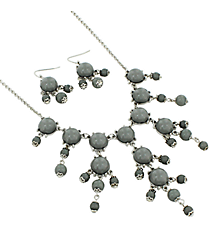 "17"" Silvertone and Grey Bubble Necklace and Earring Set #AS4704-RHGR"