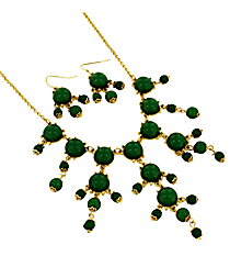 "17"" Goldtone and Green Bubble Necklace and Earring Set #AS4704-GE"