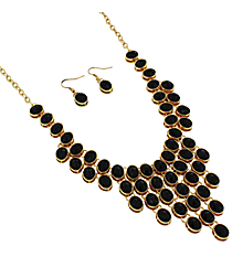 "18"" Black Faceted Bead Bib Necklace and Earring Set #JS4814-GJT"