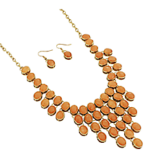"18"" Peach Faceted Bead Bib Necklace and Earring Set #JS4814-GPE"