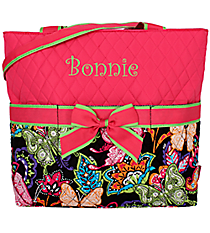 Butterfly in Town Quilted Diaper Bag with Hot Pink Trim #BUF2121-HPINK