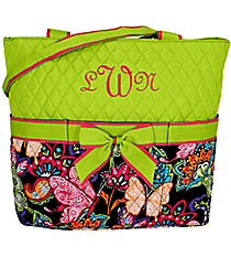 Butterfly in Town Quilted Diaper Bag with Lime Trim #BUF2121-LIME