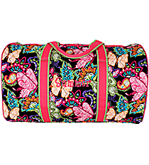 "21"" Butterfly in Town Quilted Duffle Bag with Hot Pink Trim #BUF2626-HPINK"