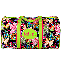 "21"" Butterfly in Town™ Quilted Duffle Bag with Lime Trim #BUF2626-LIME"