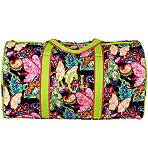 "21"" Butterfly in Town Quilted Duffle Bag with Lime Trim #BUF2626-LIME"