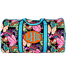 "21"" Butterfly in Town™ Quilted Duffle Bag with Turquoise Trim #BUF2626-TURQ"