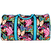"21"" Butterfly in Town Quilted Duffle Bag with Turquoise Trim #BUF2626-TURQ"