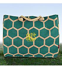 Large Aqua Honeycomb Juco Shoulder Tote #BUL634-AQUA