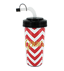 Chevron Travel Tumbler with Black Top #575B *Choose Your Initial
