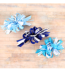 One Girl's Large Solid and Sheer Blue and White Hair Bow #BW200JD-SHIPS ASSORTED