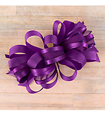 One Girl's Large Solid and Sheer Purple Hair Bow #BW200PR