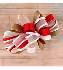 One Girl's Large Solid and Sheer Red, White, and Khaki Hair Bow #BW200RWH