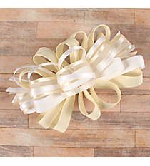 One Girl's Large Solid and Sheer White and Ivory Hair Bow #BW200WIV